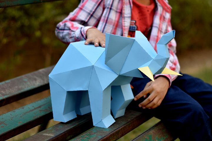 DIY Elephant Sculpture - 3d papercraft