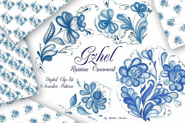 Gzhel watercolor clipart