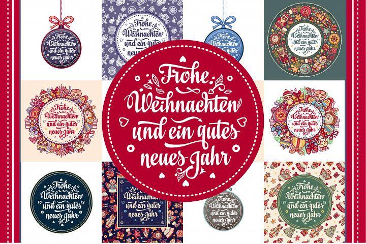 Frohe Weihnacht. Neues Jahr. Congratulations in German language. Happy Christmas in Deutschland.