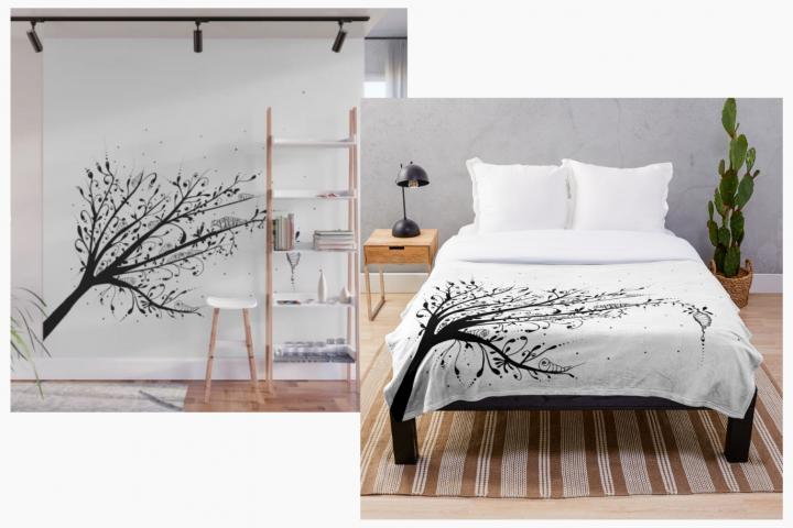Larva Tree Ink Art, A1, SVG