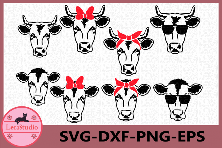 Cow SVG, Farm svg, Cow with Bandana svg, Cow in Sunglasses