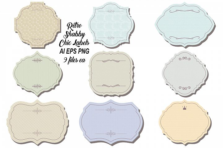 Retro Shabby Chic Labels AI EPS PNG