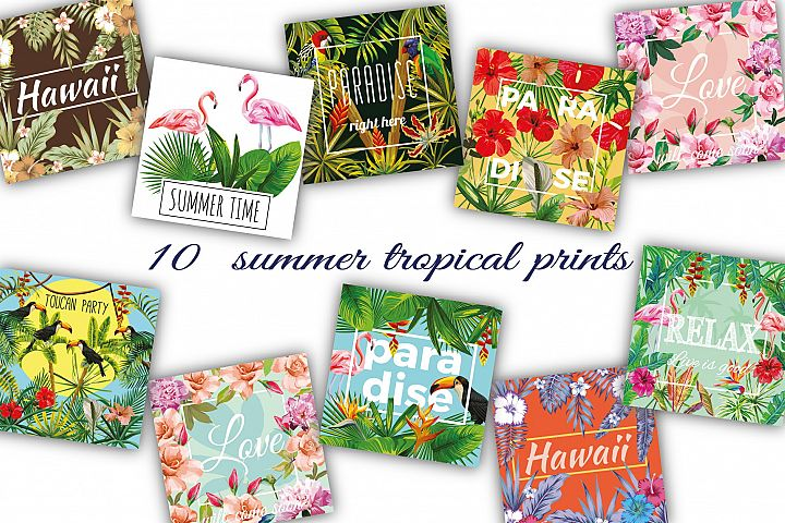 Summer slogan tropical prints