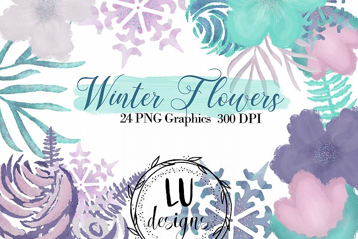 Winter Flowers Clipart, Watercolor Floral Winter Graphics