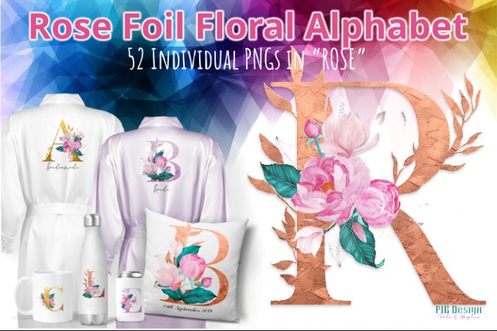 Rose Gold Foil Effect Floral Alphabet Letters