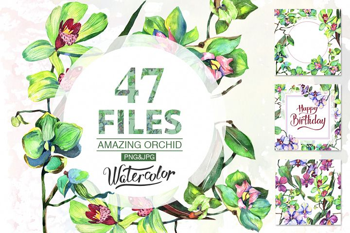 Orchid green flowers PNG watercolor set