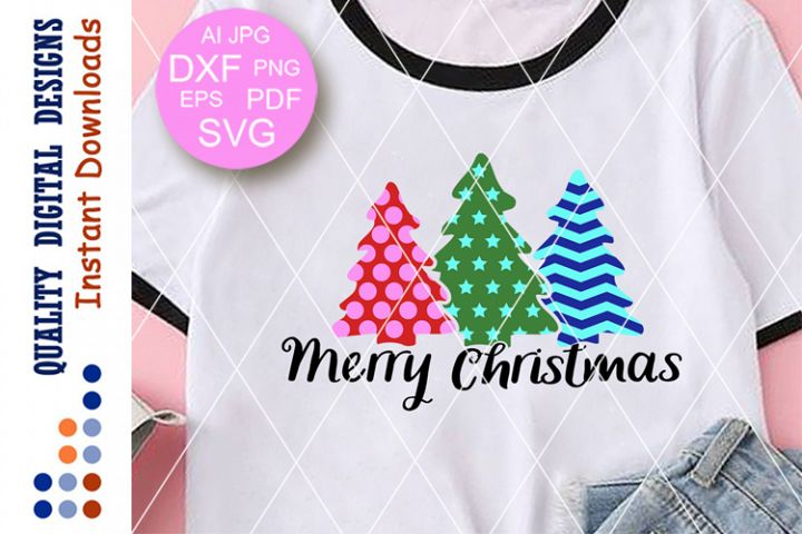 Merry Christmas svg Christmas trees clipart Xmas svg files