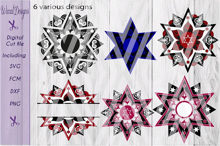 Christmas star svg, Mandala svg, mandala star svg, glass block svg,  Split mandala svg, Monogram svg,