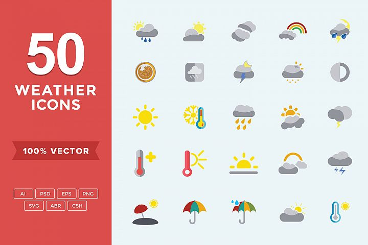 Weather Set Flat Vector Icons