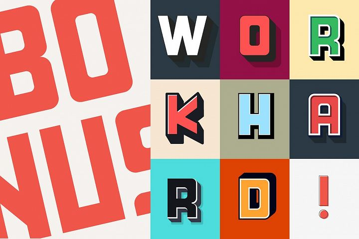 HardWork - Display Font With Styles - Free Font of The Week Design0