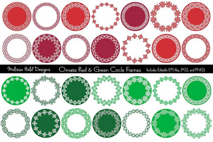 Red & Green Ornate Circle Frames