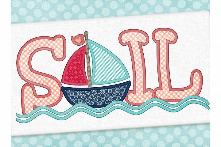 Sailboat Applique Embroidery Design 1275