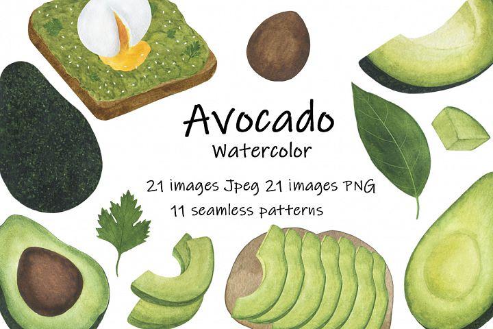 Set Avocado watercolor food illustration