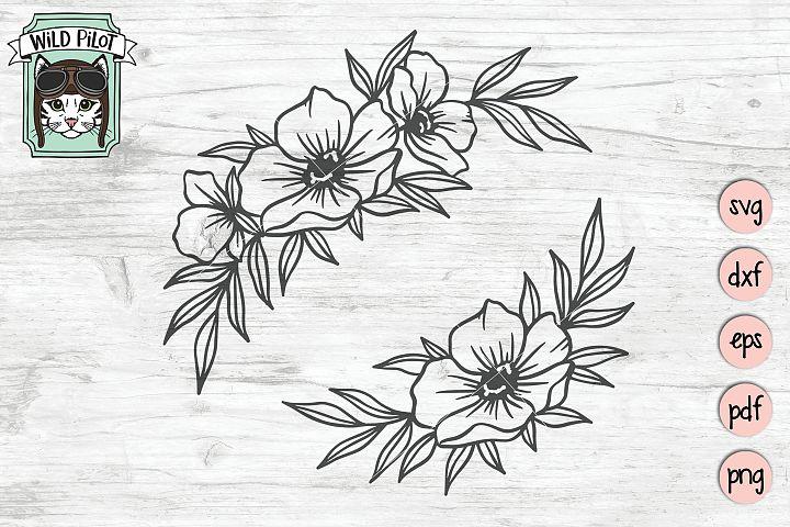 Flowers SVG file, Flower Border svg, Floral cut file, corner