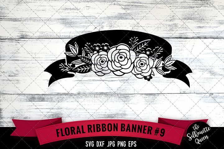 Floral Ribbon 9 Svg Cut File