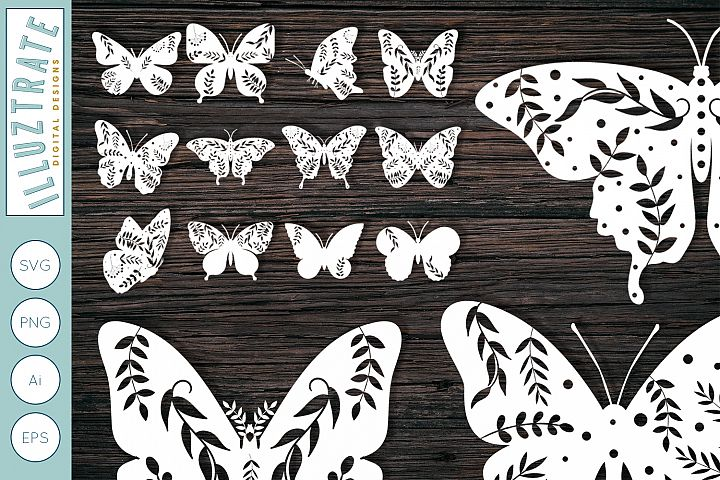 Floral Butterfly Bundle | Clipart | Butterfly SVG Cut Files