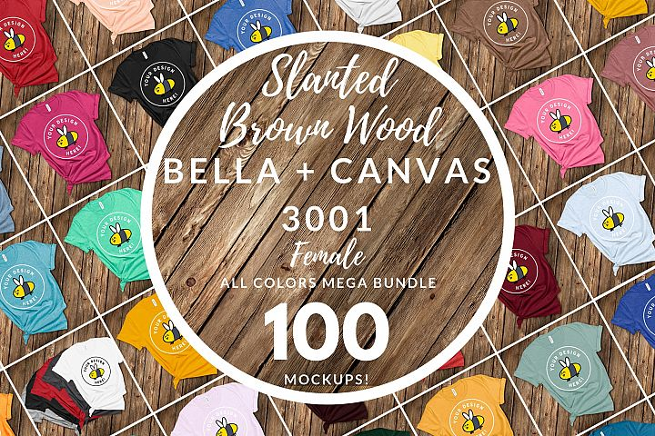 Bella Canvas 3001 Mega Bundle All Colors Slanted Brown Wood