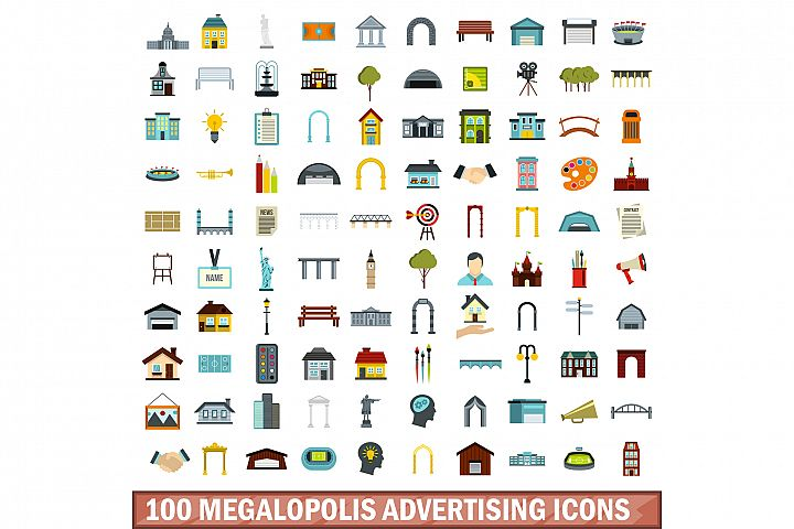 100 megalopolis advertising icons set, flat style