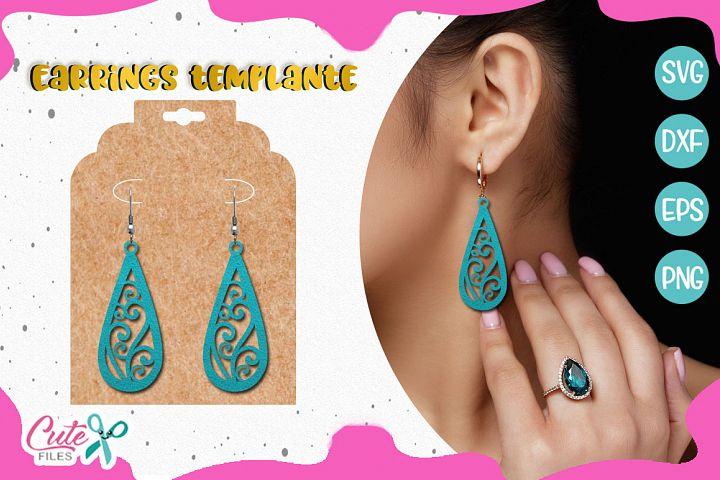 Earrings templante SVG cut file