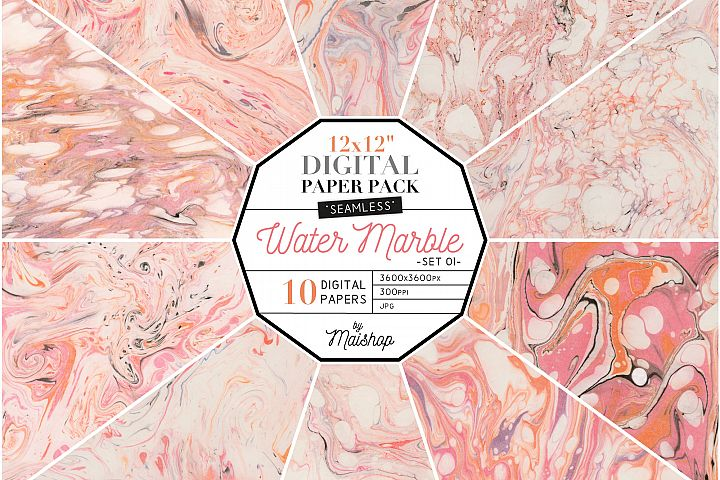 Seamless Digital Paper Pack Water Marble Set 01