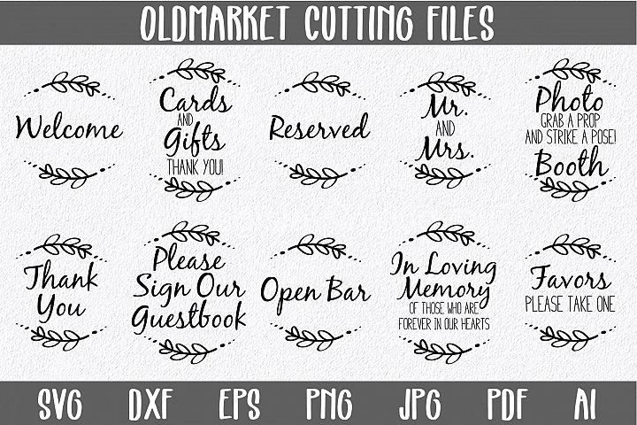 Wedding Reception Signs SVG Cut Files-DXF-AI-SVG-JPG-PNG-PDF - Free Design of The Week Font