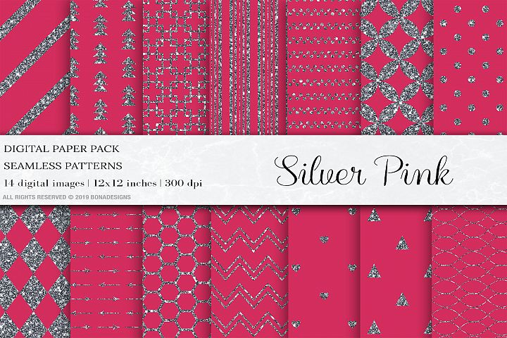 Pink Silver Seamless Patterns, Silver Wedding Digital Papers