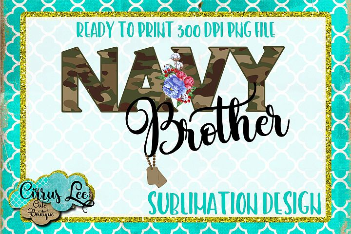 Navy Brother Sublimation Design