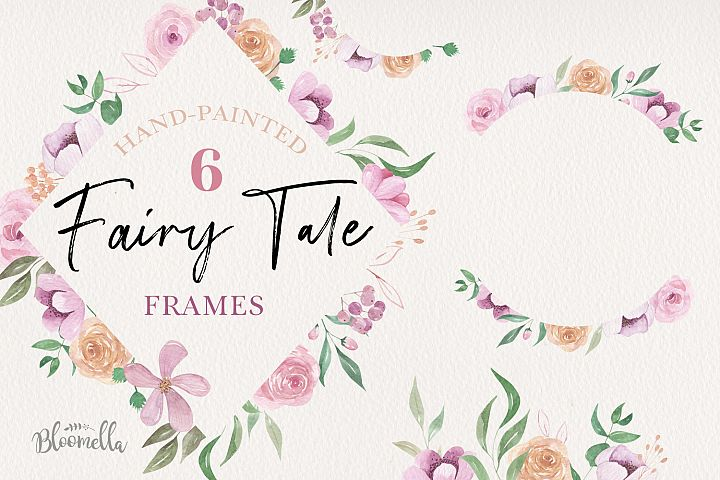 Fairy Tale Watercolor 6 Frames Set Flowers Borders