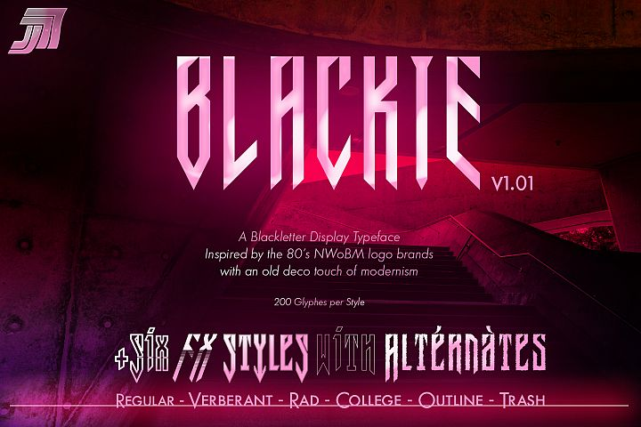 JVNE-Blackie Display Font Family Update v1.01