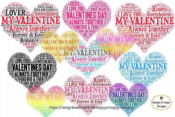 Valentine Love Hearts - Wordart Shapes