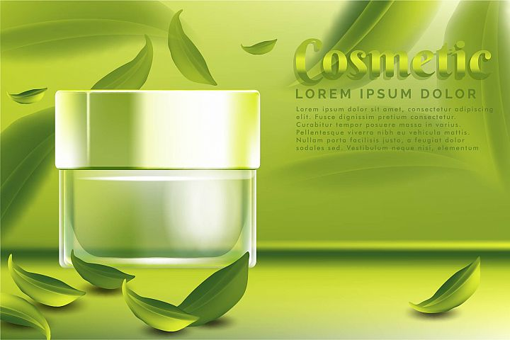 cream jar cosmetic products ad, with green tea leaves backgr