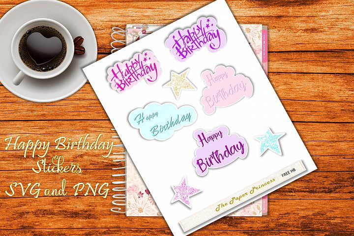 Happy Birthday Stickers SVG and PNG