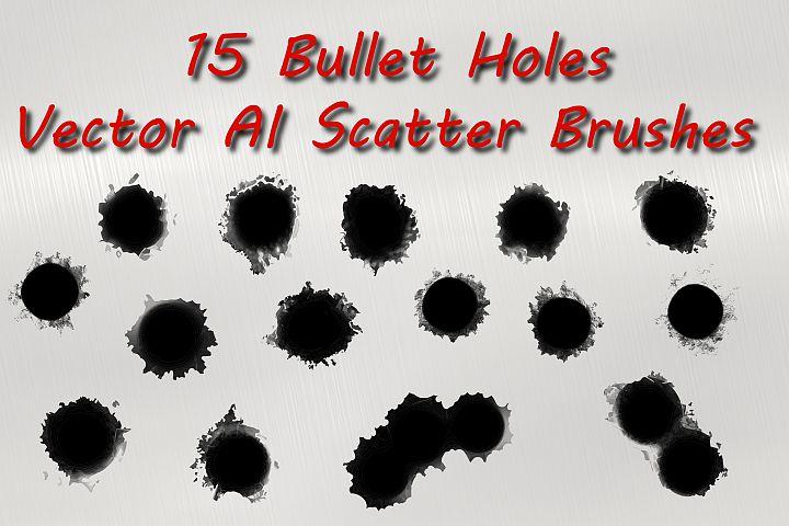 15 Bullet Holes Vector Illustrator Scatter Brushes