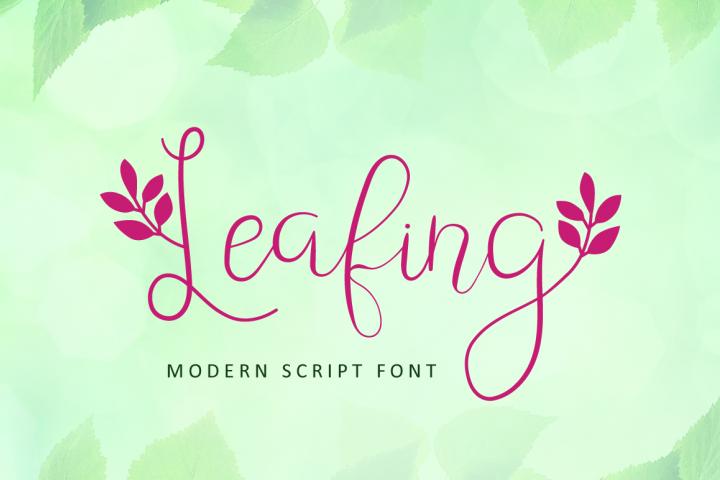 Leafing - Modern Script Font with 3 alternates