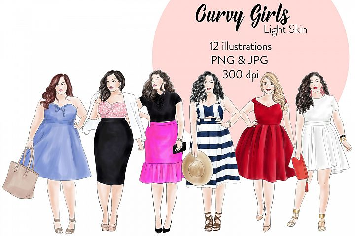Fashion illustration clipart - Curvy Girls - Light skin