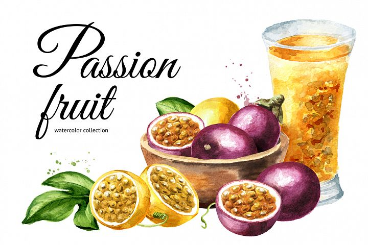 Passion fruit. Watercolor set