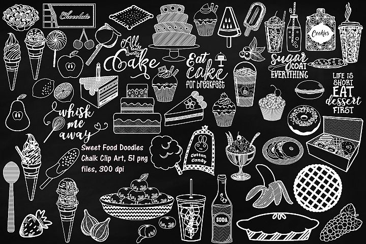 Chalk Sweet Junk Food Doodles Clip Art