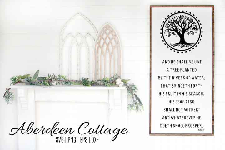 Psalm 1-3 Bible Verse SVG, PNG, DXF & EPS Design