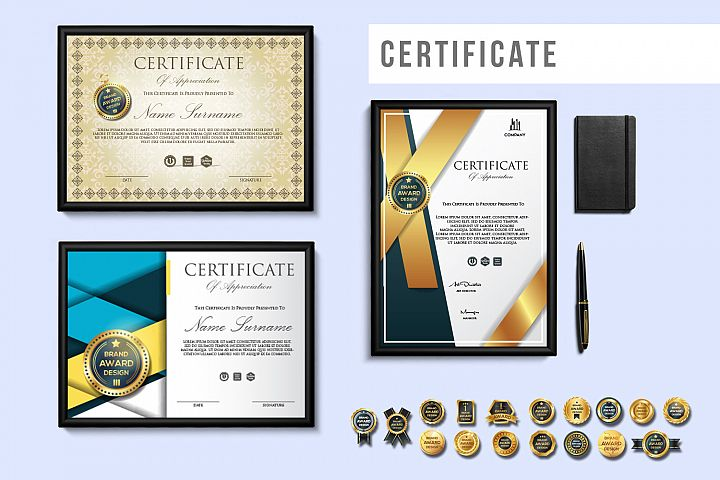 Creative Certificate Design Template with 16 Badge Vol. 1