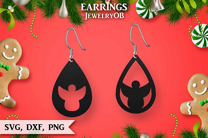 Christmas Earrings, Cut File, SVG DXF PNG, Angel