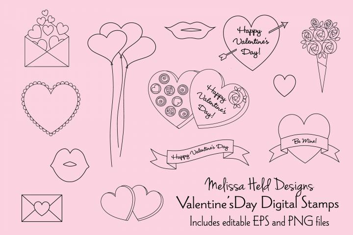 Valentines Day Digital Stamp Clipart