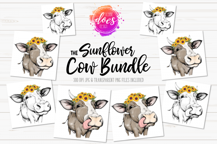 The Sunflower Cow Bundle - Hand Drawn Cow Illustrations