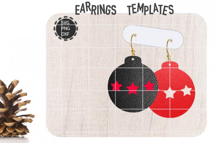 Christmas Bulb Stars Earrings Svg, Christmas Earrings Svg