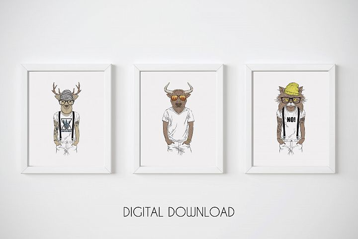 Hipster Wall Art, Funny Animal Prints, Hipster Animals