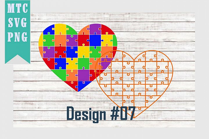 Heart Puzzle Autism Design #07 SVG Cut File