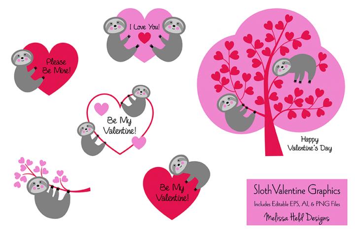 Sloth Valentine Graphics