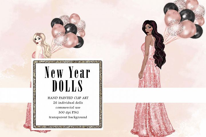 Rose Gold Dress Doll Clipart, Gown Fashion Illustration
