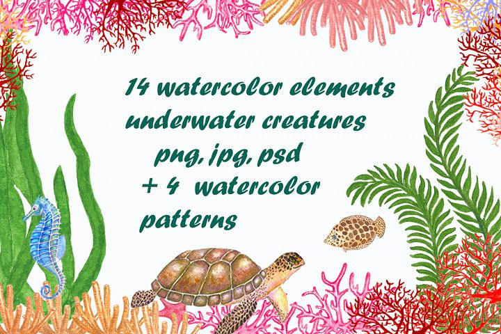 Set of watercolor sea creatures