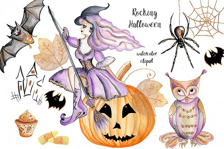Halloween clip art . Watercolor with glitter, fall elements