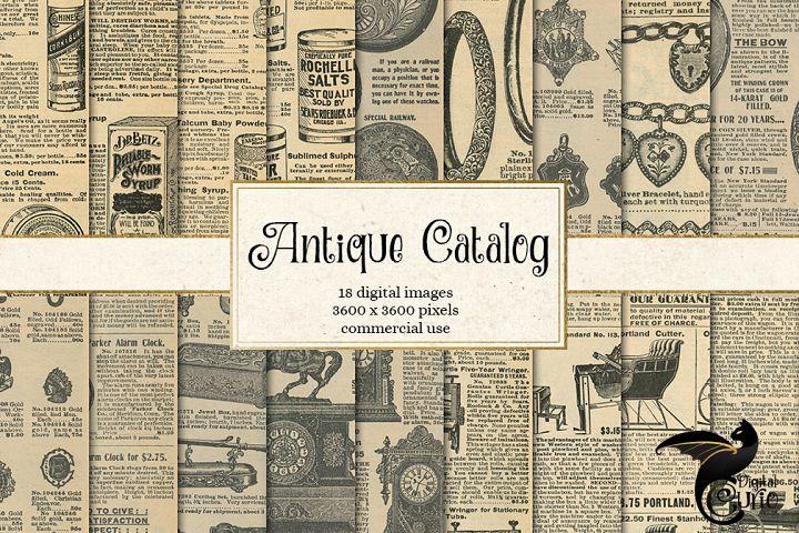 Antique Catalog Pages Digital Paper Ephemera example